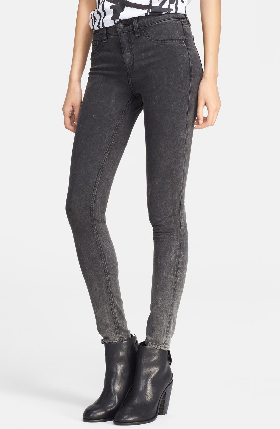 Alternate Image 1 Selected - rag & bone/JEAN 'Justine' High Rise Skinny Jeans (Rosebowl Black)