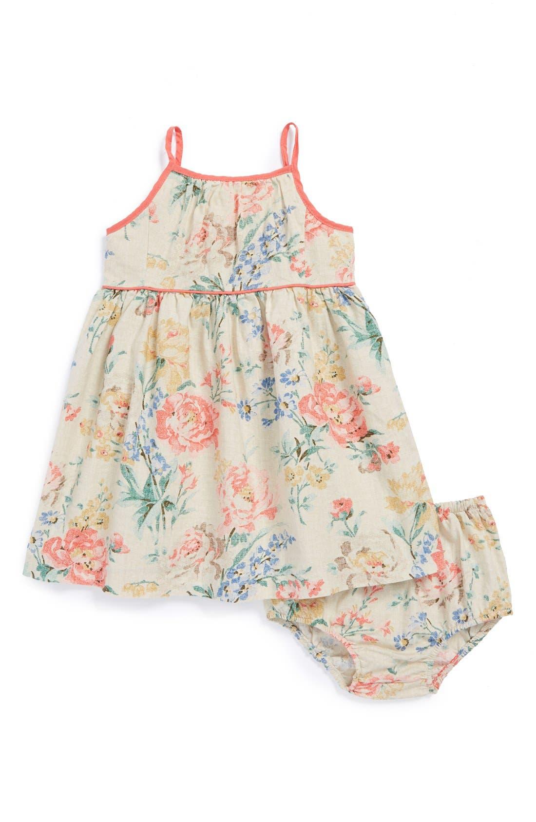 Main Image - Ralph Lauren Floral Print Sleeveless Dress & Bloomers (Baby Girls)