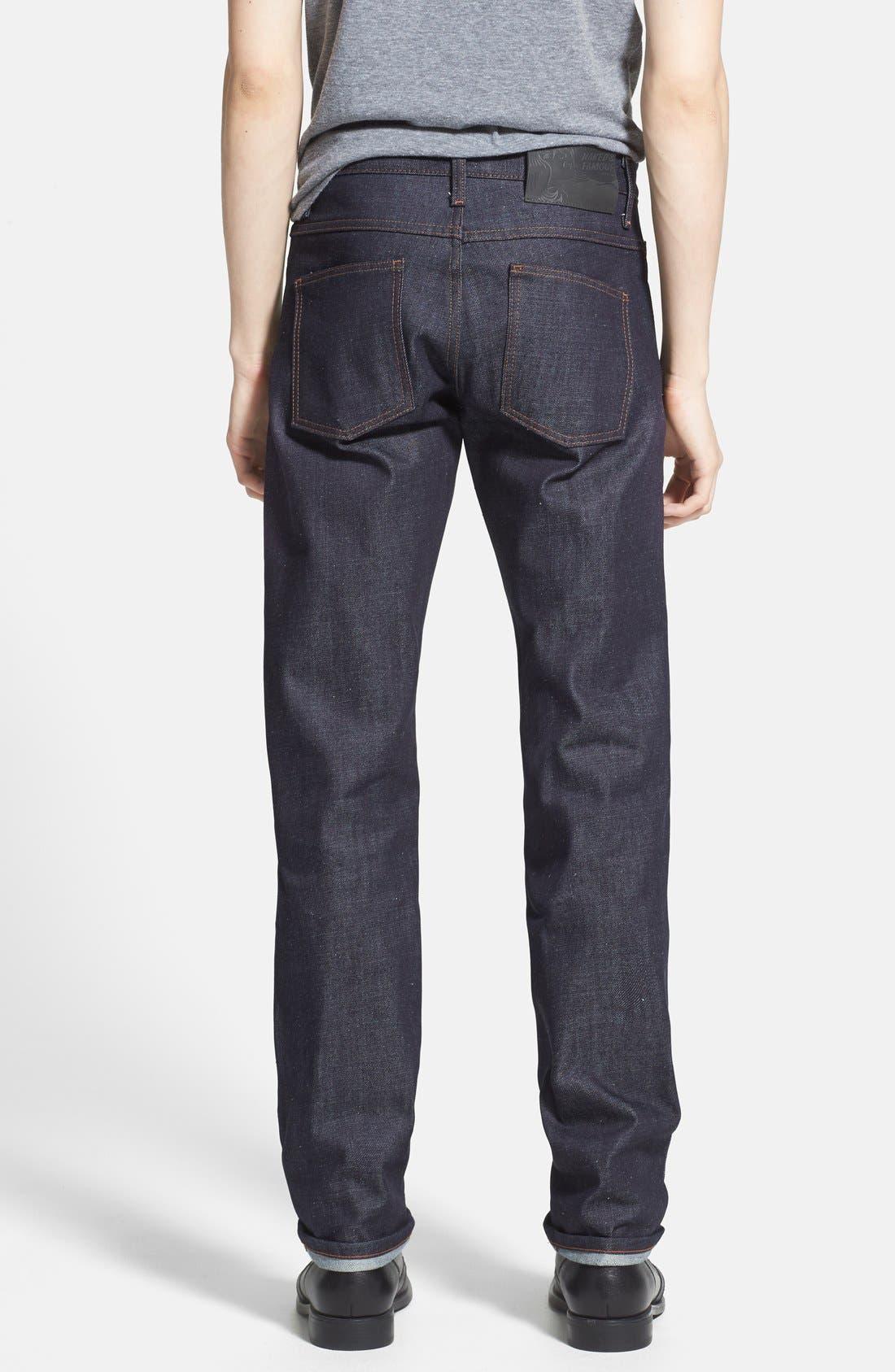 Alternate Image 2  - Naked & Famous Denim 'Slim Guy' Straight Leg Jeans (Indigo) (Online Only)