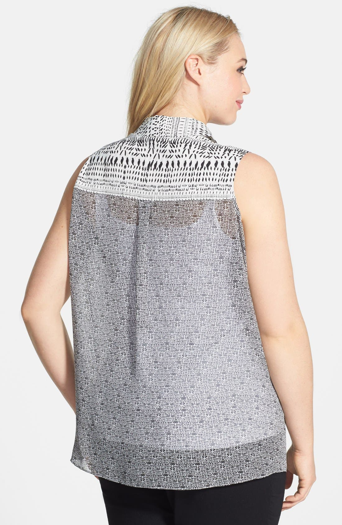 Alternate Image 2  - DKNYC Mix Print Sleeveless Blouse (Plus Size)
