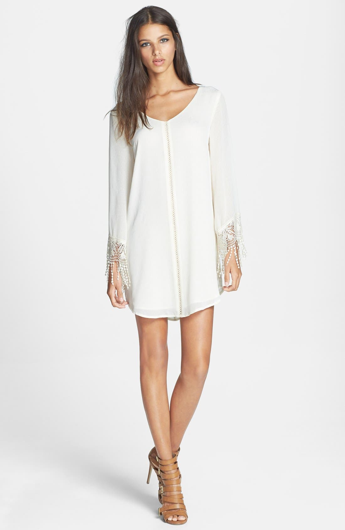 Alternate Image 1 Selected - ASTR Crochet Cuff Jacquard Shift Dress