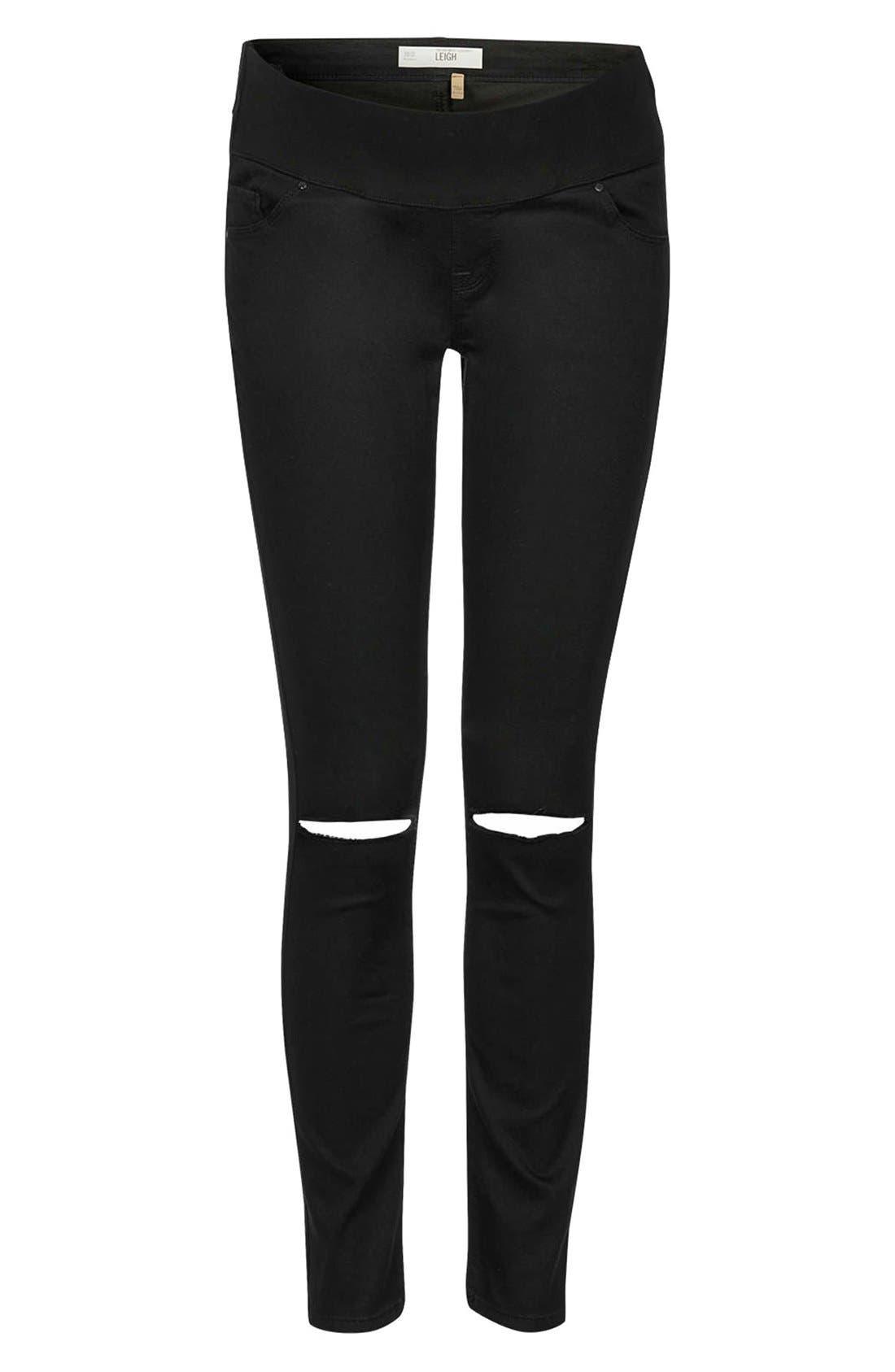 Alternate Image 3  - Topshop Moto 'Leigh' Ripped Maternity Jeans (Black) (Regular, Short & Long)
