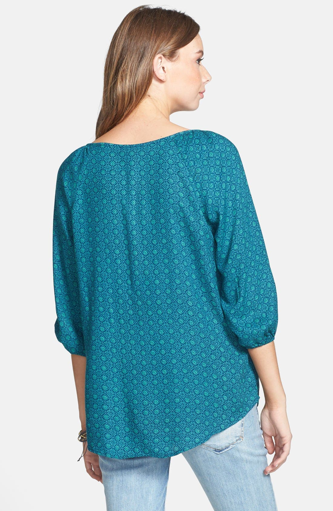 Alternate Image 2  - Angie Embroidered Peasant Top (Juniors)