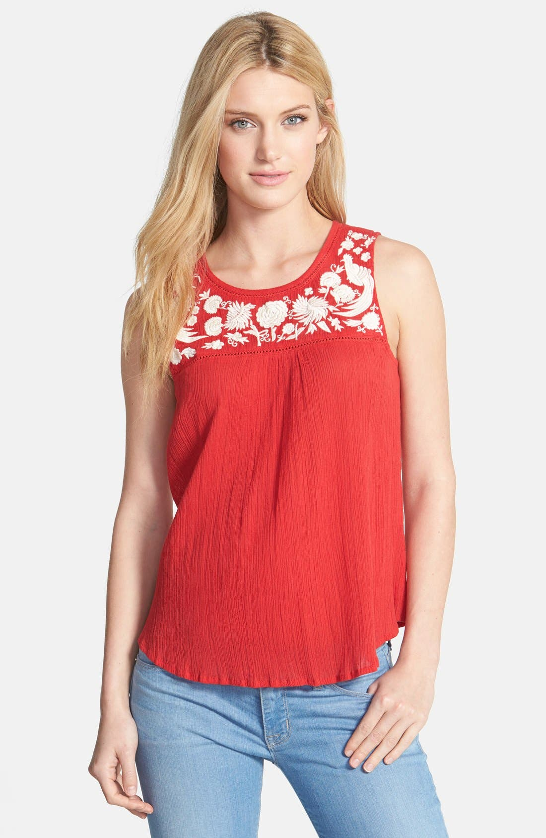 Alternate Image 1 Selected - Lucky Brand Embroidered Woven Tank
