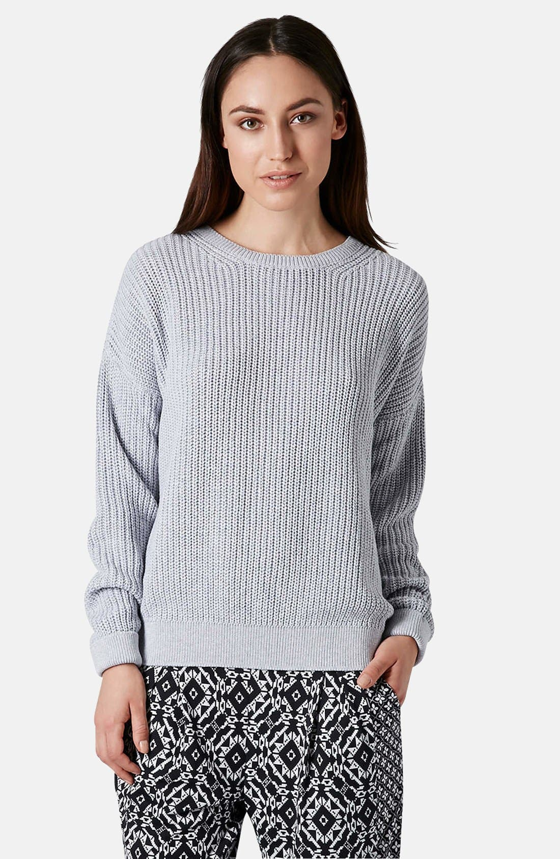 Main Image - Topshop Ribbed Cotton Sweater