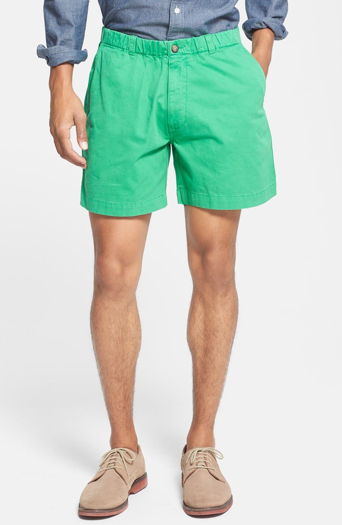 'Snappers' Vintage Washed Elastic Waistband Shorts,                         Main,                         color, Pine