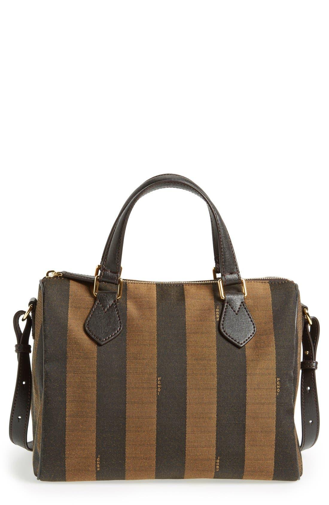 Main Image - Fendi 'Small Pequin' Logo Jacquard Shoulder Bag