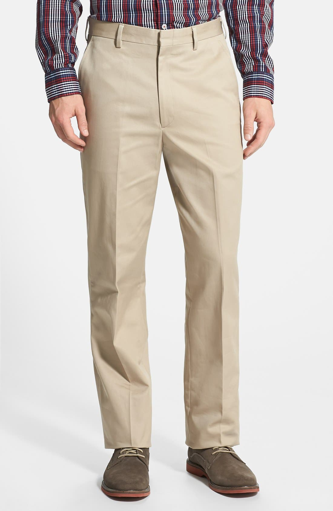 Flat Front Wrinkle Resistant Cotton Trousers,                             Main thumbnail 1, color,                             Khaki