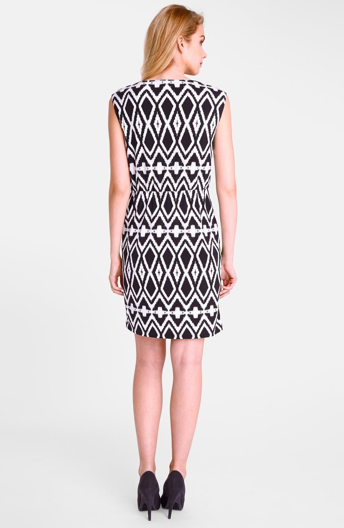 Alternate Image 2  - Tahari Belted Geo Print Jersey Sheath Dress