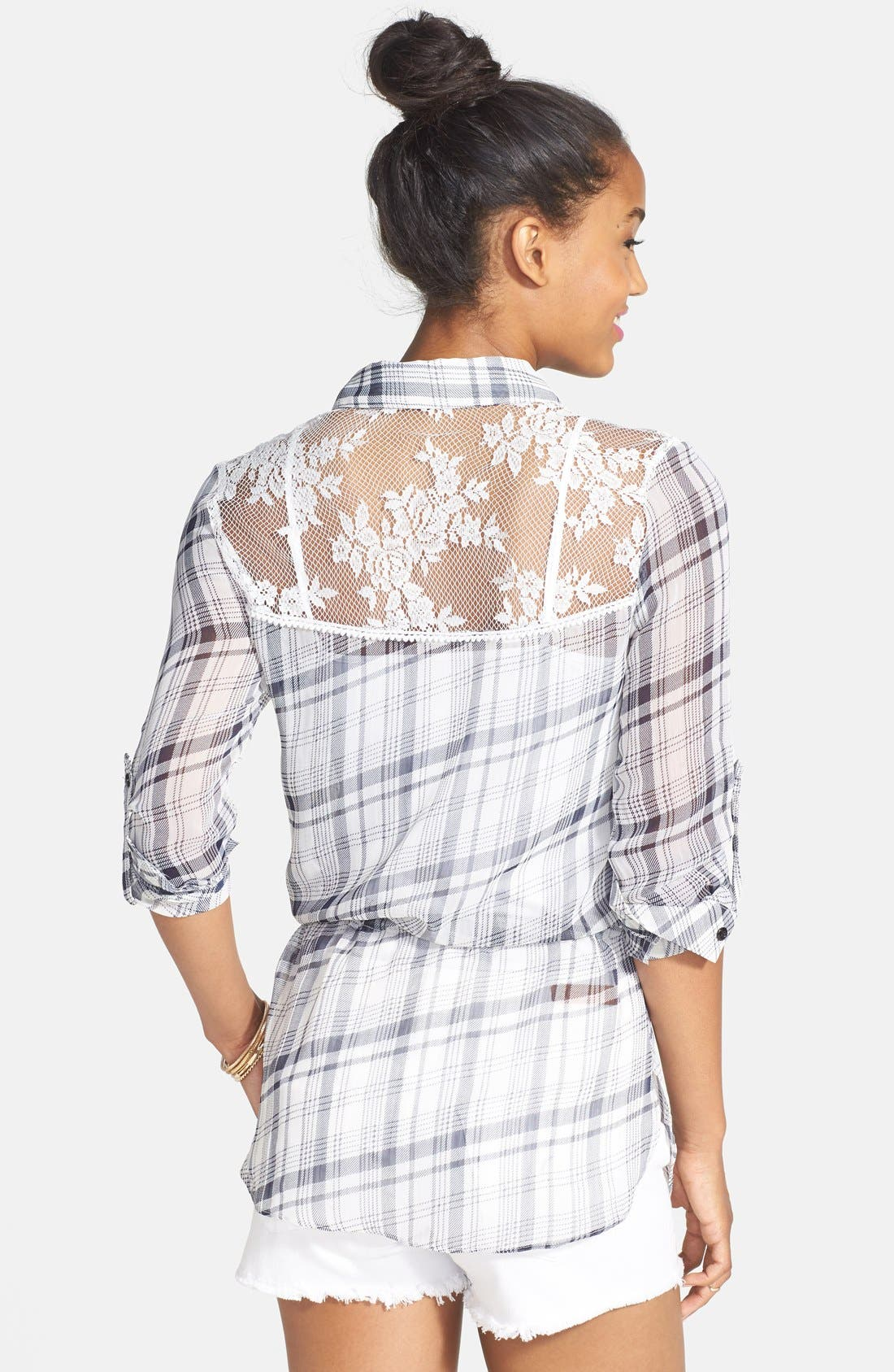 Alternate Image 2  - lovposh Lace Yoke Plaid Shirt (Juniors)