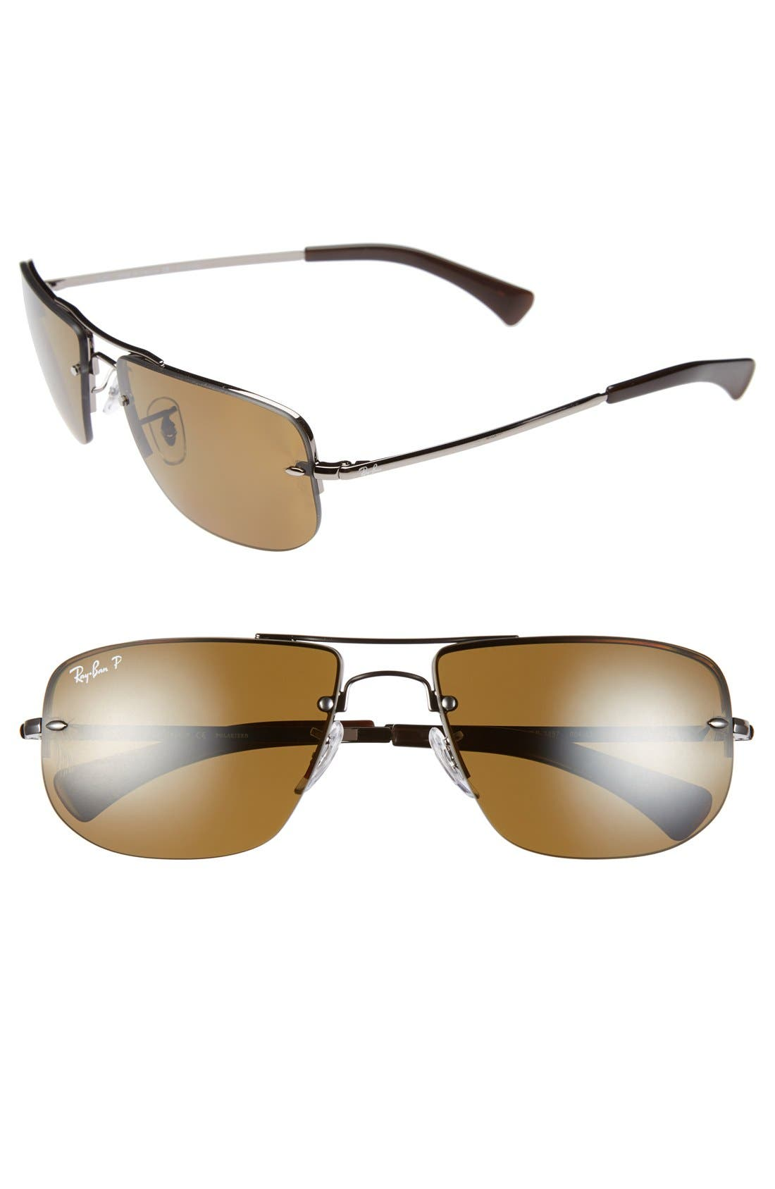 Main Image - Ray-Ban 59mm Polarized Semi Rimless Sunglasses