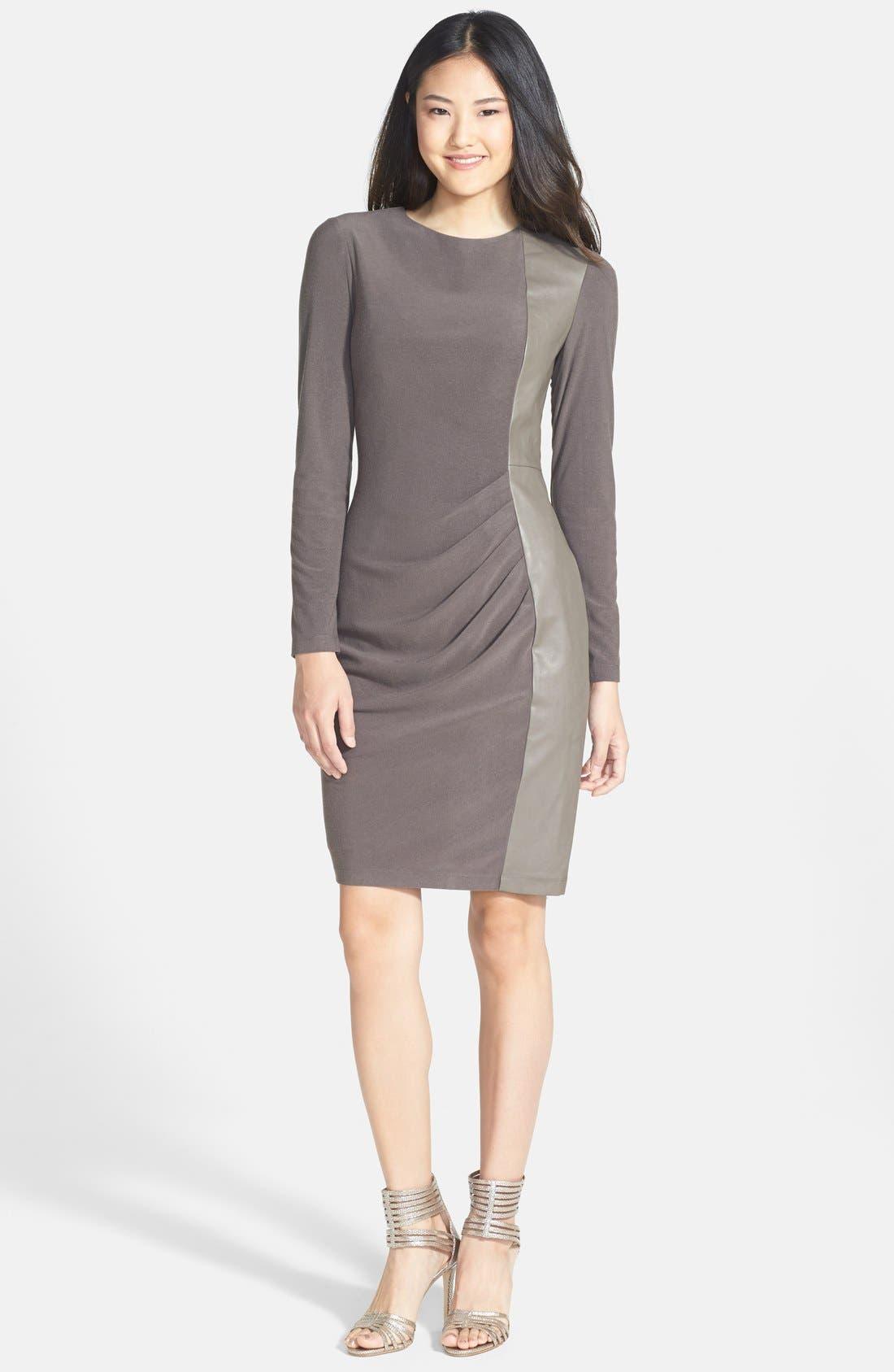 Alternate Image 3  - Vince Camuto Faux Leather Panel Ponte Sheath Dress (Regular & Petite)