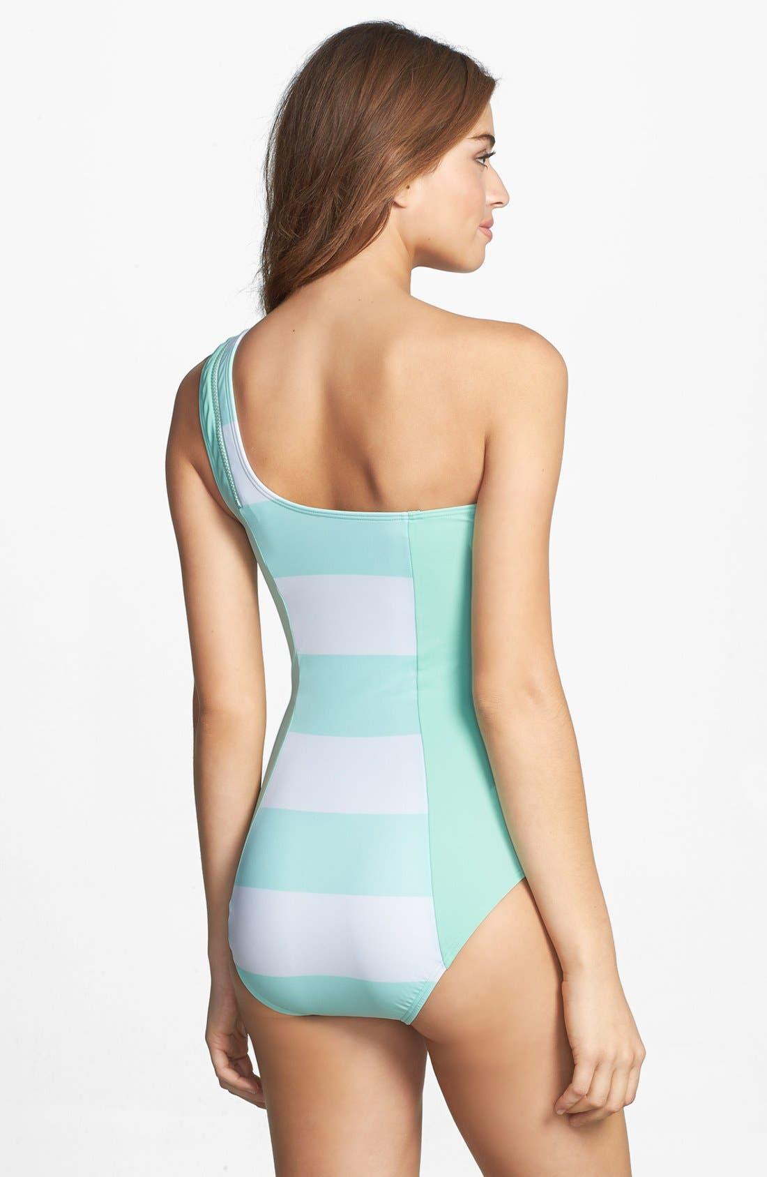 Alternate Image 2  - DKNY 'Lorimer' Stripe Zip One-Shoulder Maillot