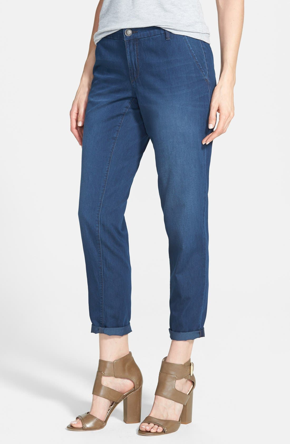 Alternate Image 1 Selected - Jessica Simpson 'Newsboy' Roll Cuff Denim Pants