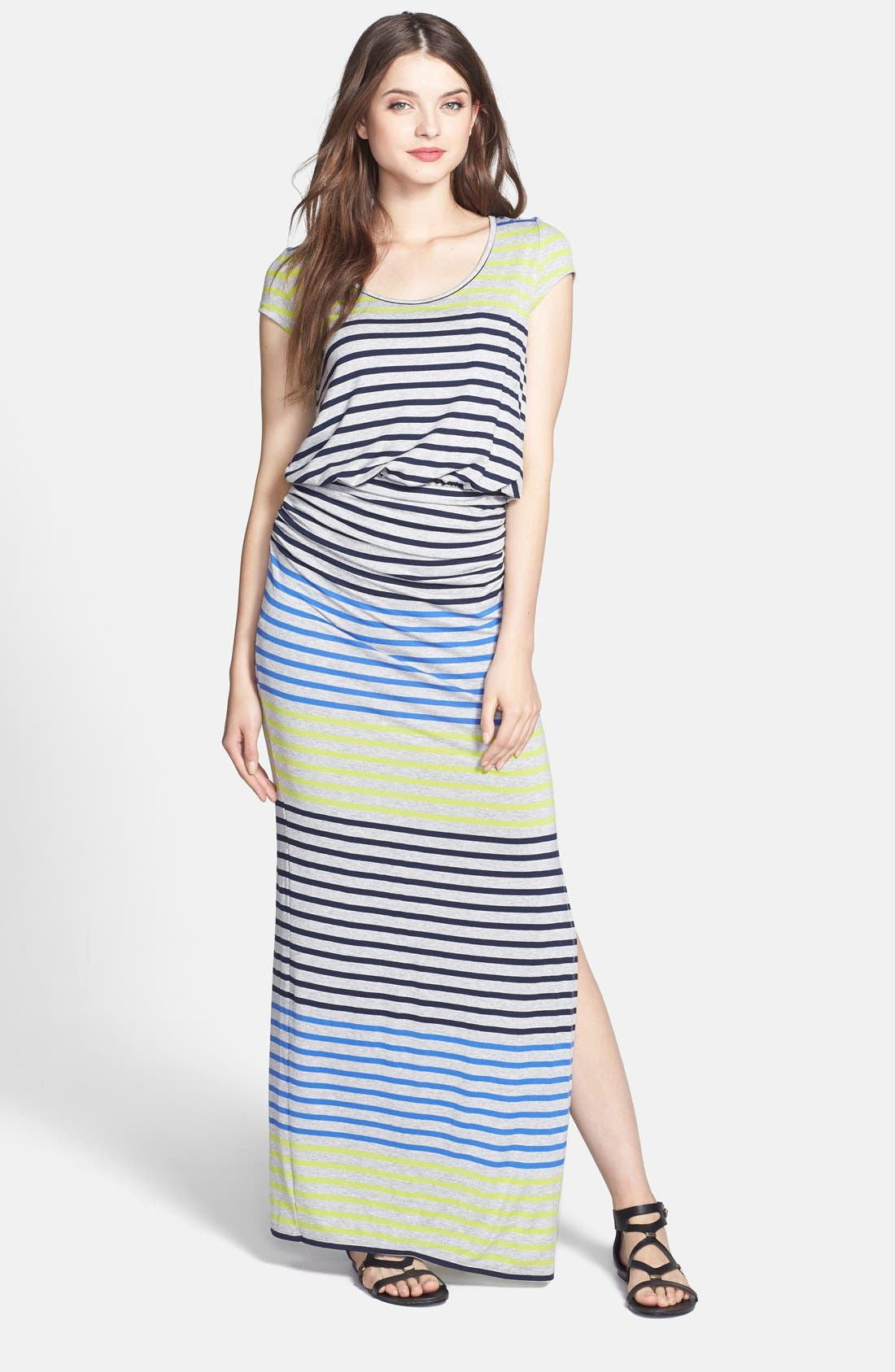 Main Image - Everleigh Side Ruched Stripe Maxi Dress