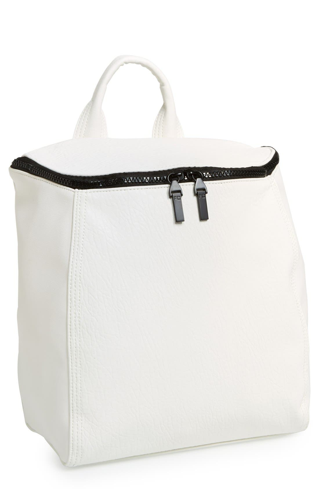 'Prim Lady' Faux Leather Backpack,                             Main thumbnail 1, color,                             White