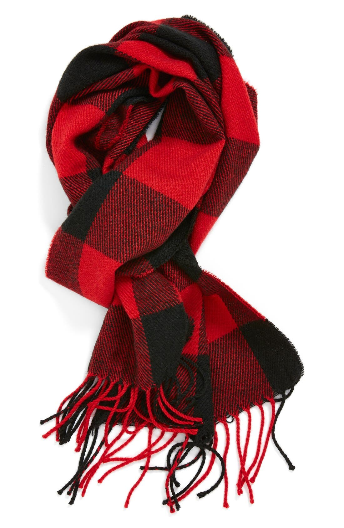 Red Check Knit Scarf,                         Main,                         color, Red/ Black