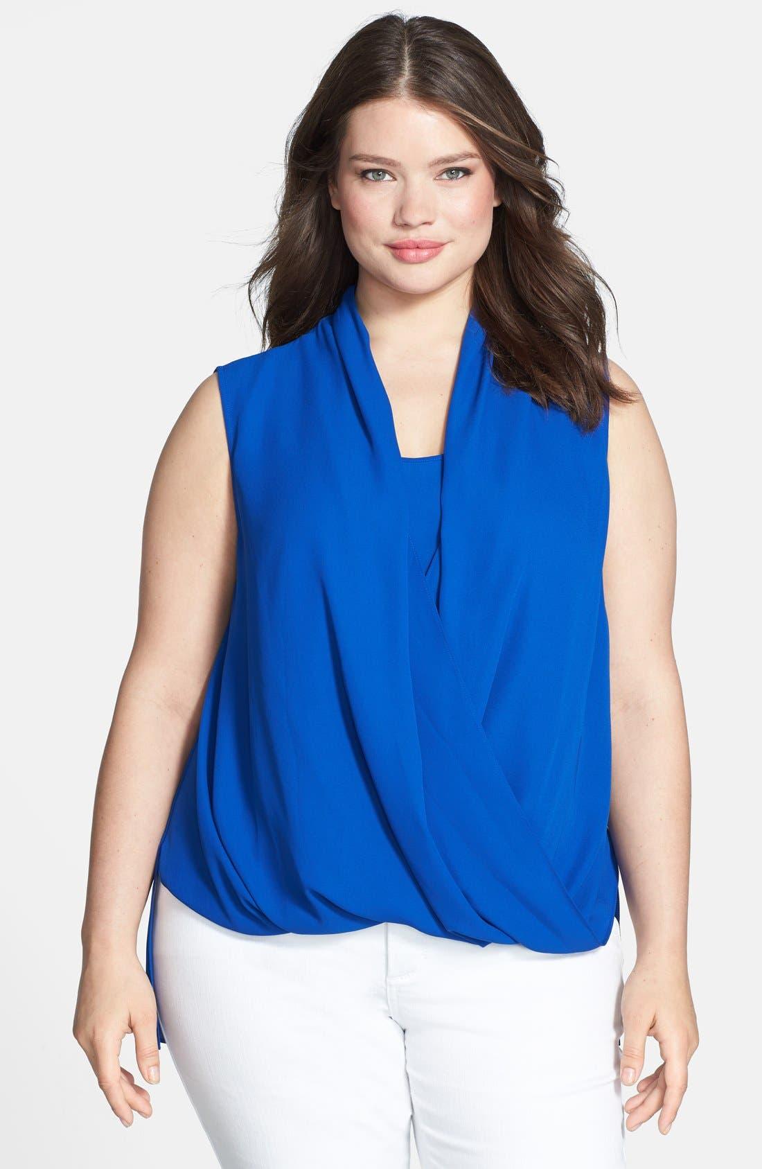 Main Image - Vince Camuto Sleeveless Wrap Front Shirttail Blouse (Plus Size)