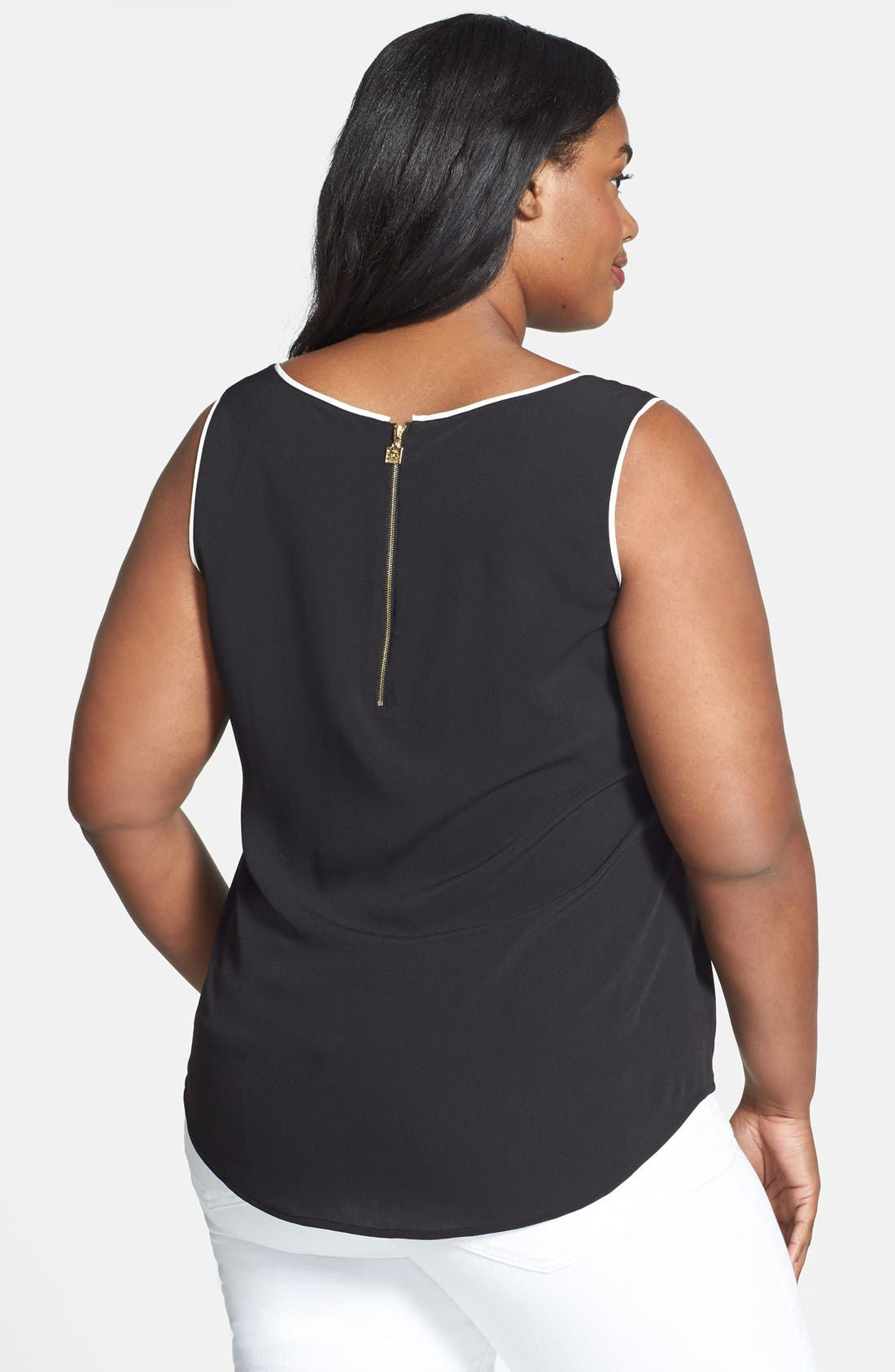 Alternate Image 2  - Anne Klein Contrast Trim Pocket Tank (Plus Size)