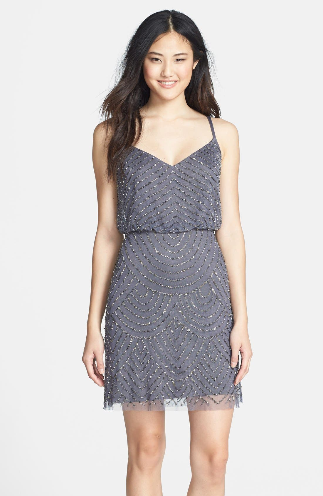 Main Image - Adrianna Papell Sequin Mesh Blouson Dress