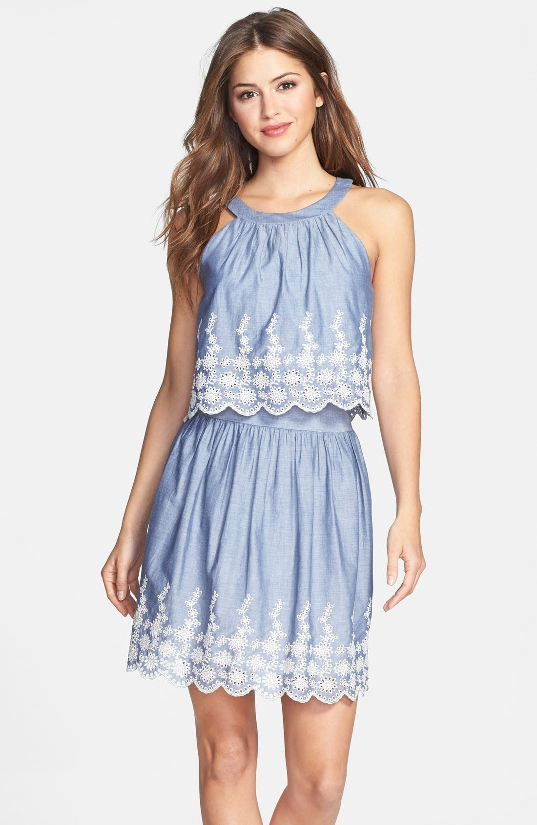 Main Image - Ivy & Blu Embroidered Chambray Popover Dress
