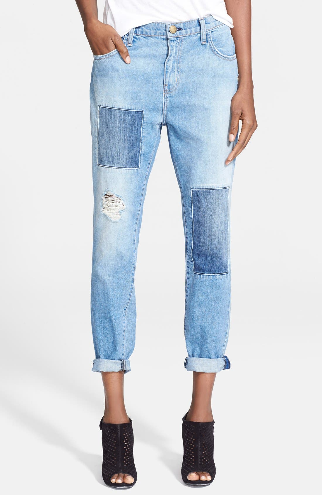 Main Image - Current/Elliott 'The Fling' Destroyed Crop Jeans (Kasey with Repair)