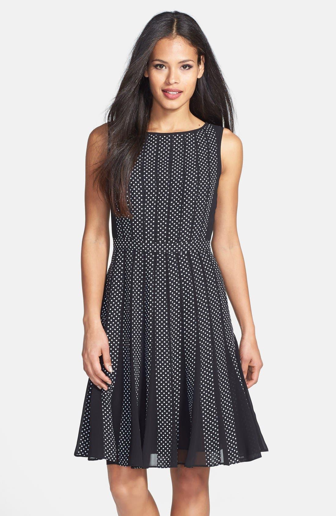 Main Image - Adrianna Papell Polka Dot Chiffon Fit & Flare Dress