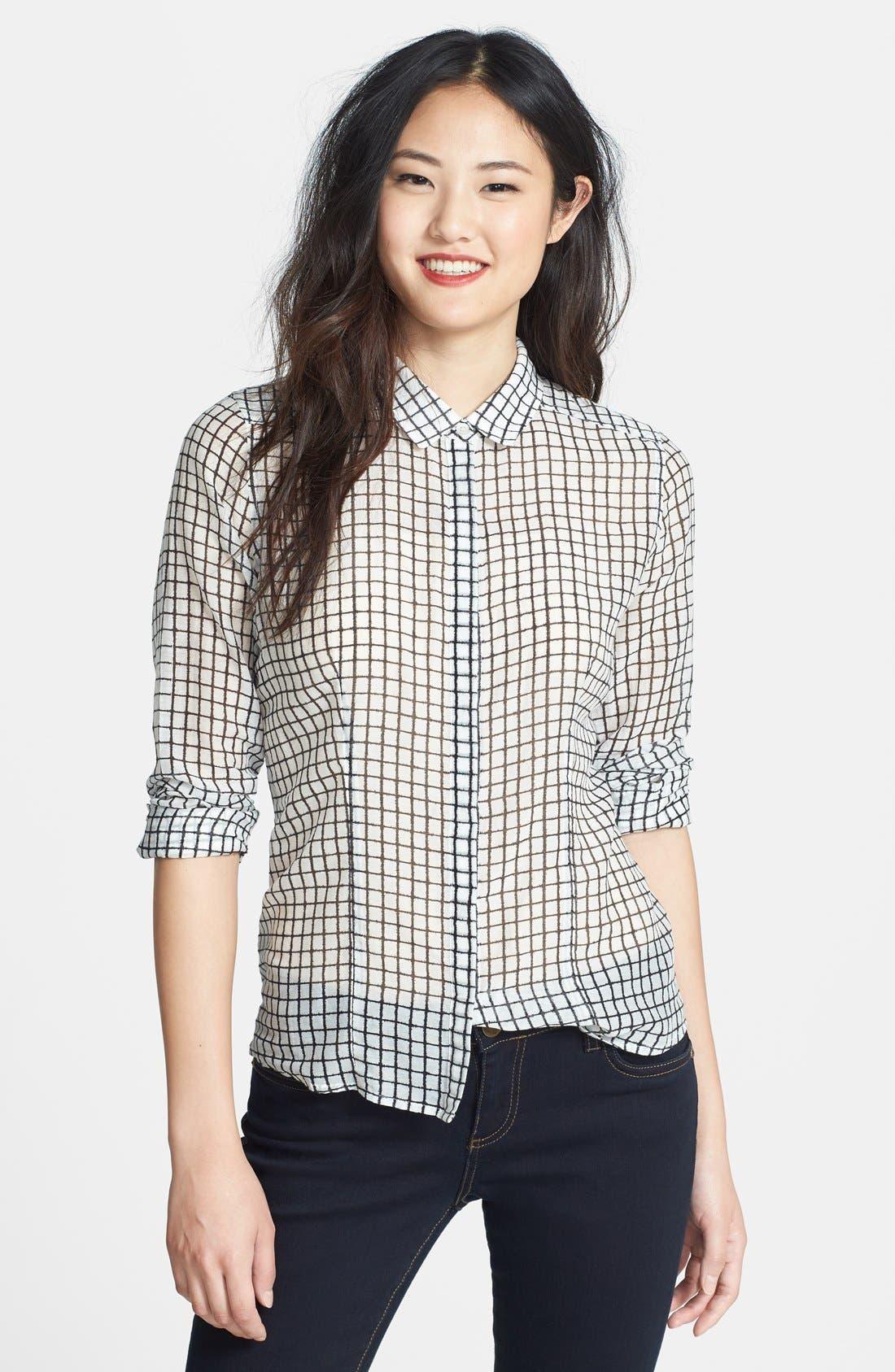 Alternate Image 1 Selected - Halogen® Print Cotton & Silk Shirt (Regular & Petite)