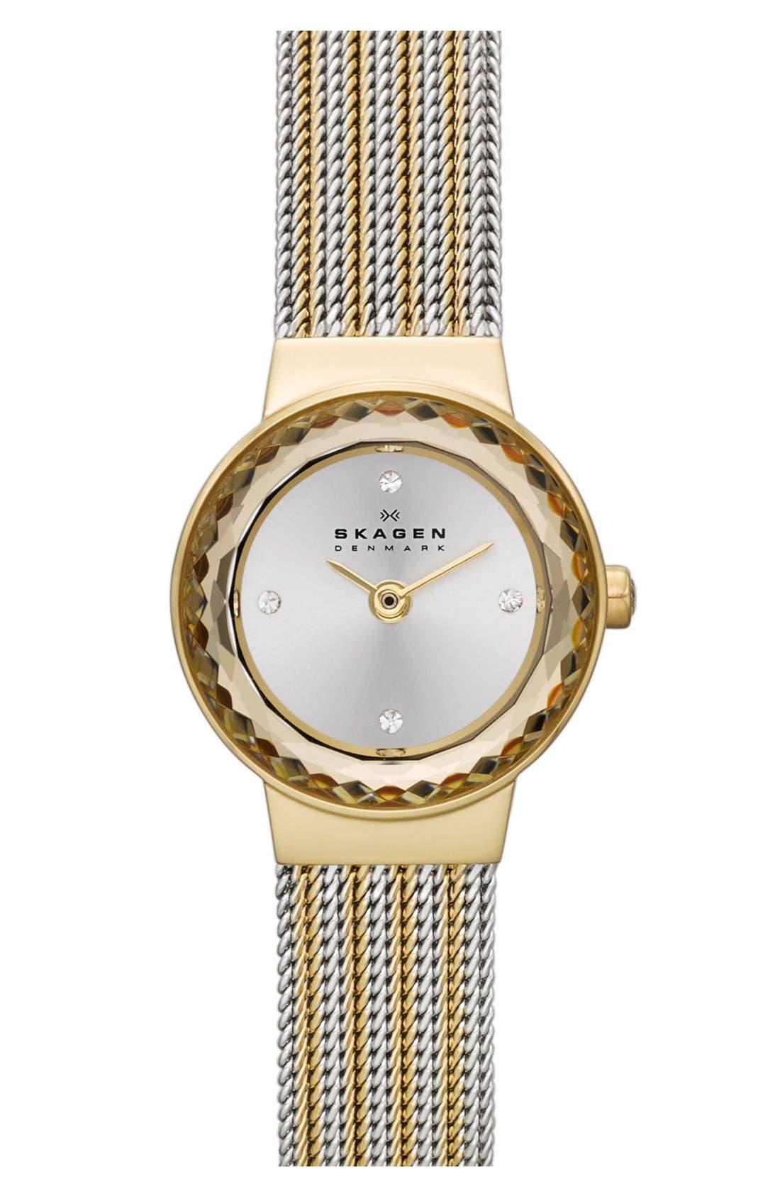 Main Image - Skagen 'Leonora' Faceted Bezel Mesh Strap Watch, 20mm (Nordstrom Exclusive)