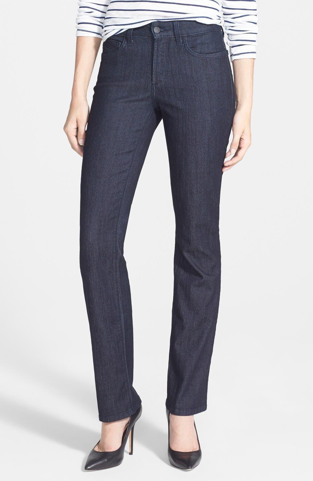 'Marilyn' Stretch Straight Leg Jeans,                         Main,                         color, Dark Enzyme Wash