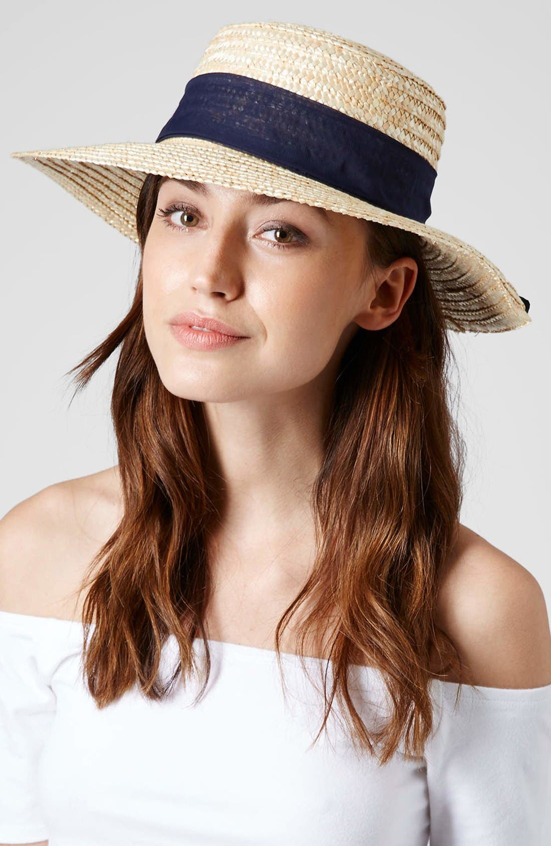 Alternate Image 2  - Topshop Straw Boater Hat