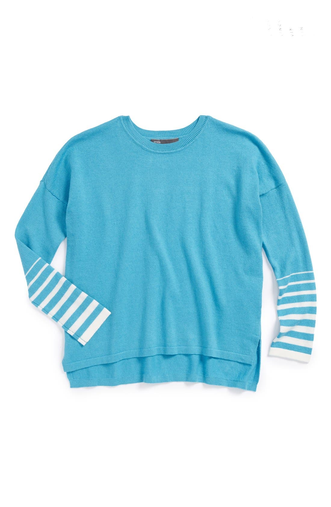 Main Image - Vince Side Split Cotton & Cashmere Crewneck Sweater (Big Girls)