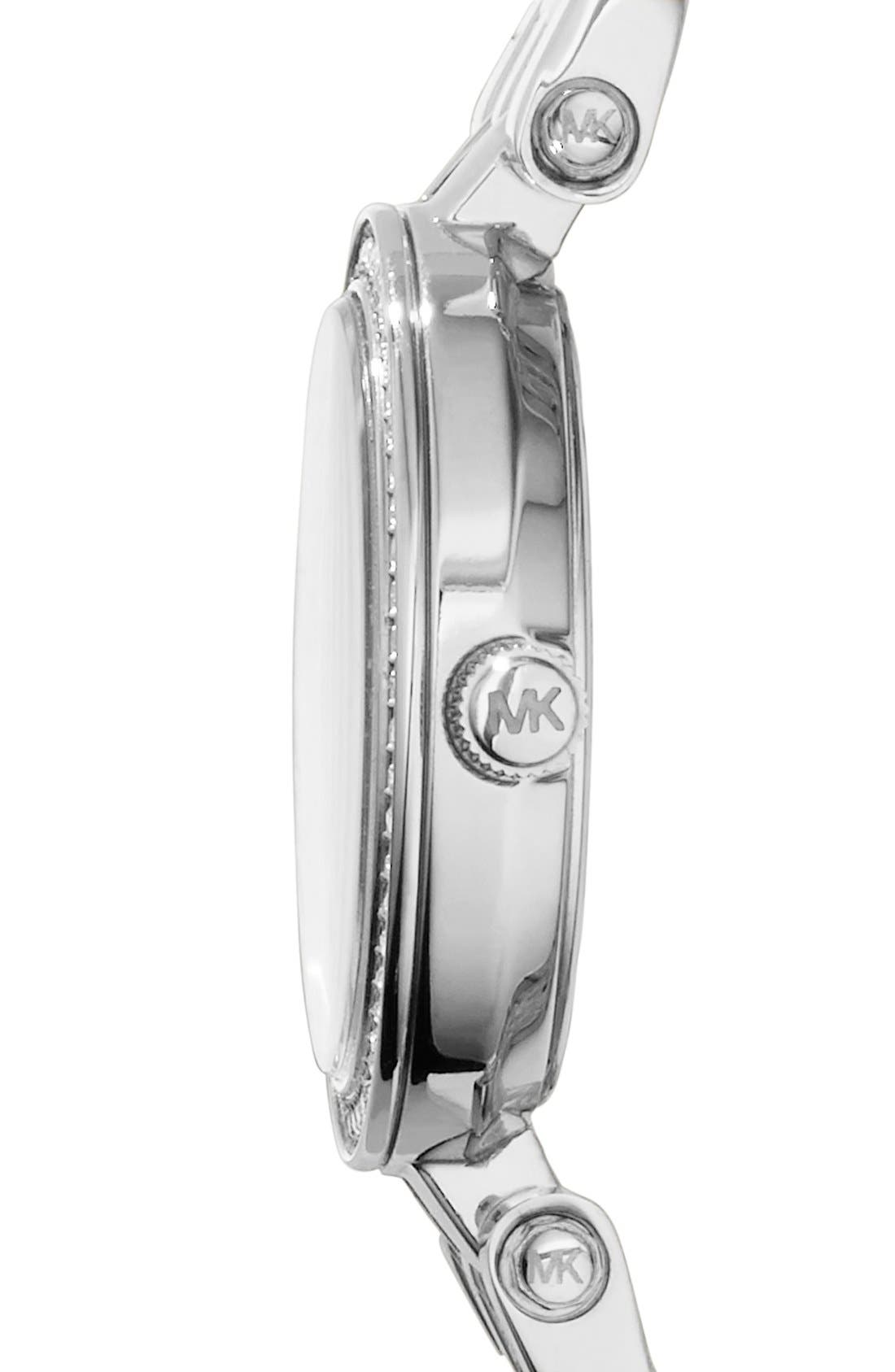 'Petite Darci' Crystal Bezel Bracelet Watch, 26mm,                             Alternate thumbnail 3, color,                             Silver