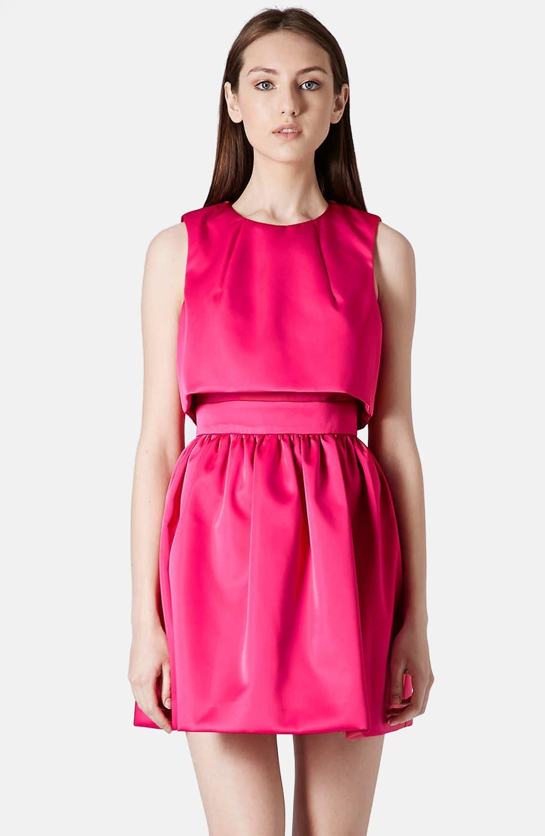 'Duchess' Crop Overlay Satin Skater Dress,                             Main thumbnail 1, color,                             Pink