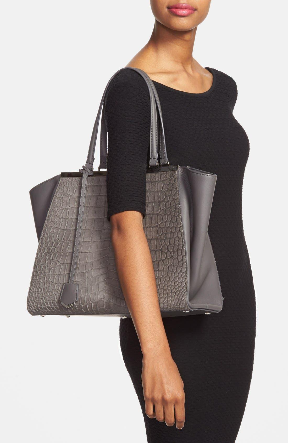 Alternate Image 2  - Fendi '3Jours' Croc Embossed Leather Shopper