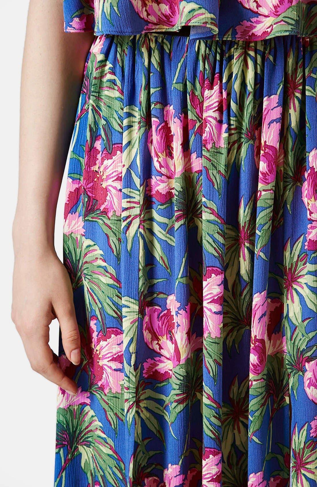 Alternate Image 3  - Topshop Hibiscus Print Midi Skirt (Petite)