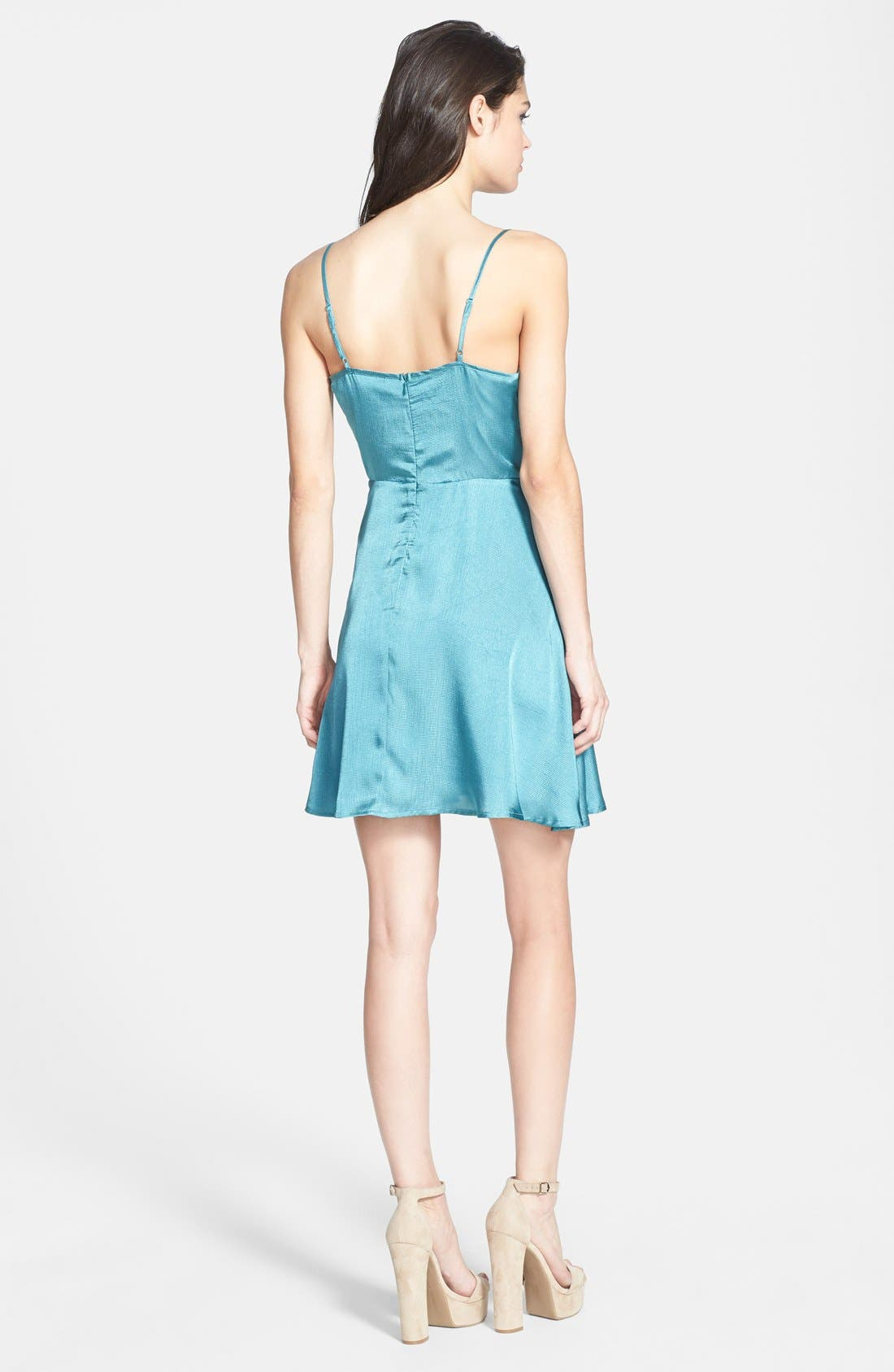 Alternate Image 2  - ASTR Mesh Inset Jacquard Slip Dress