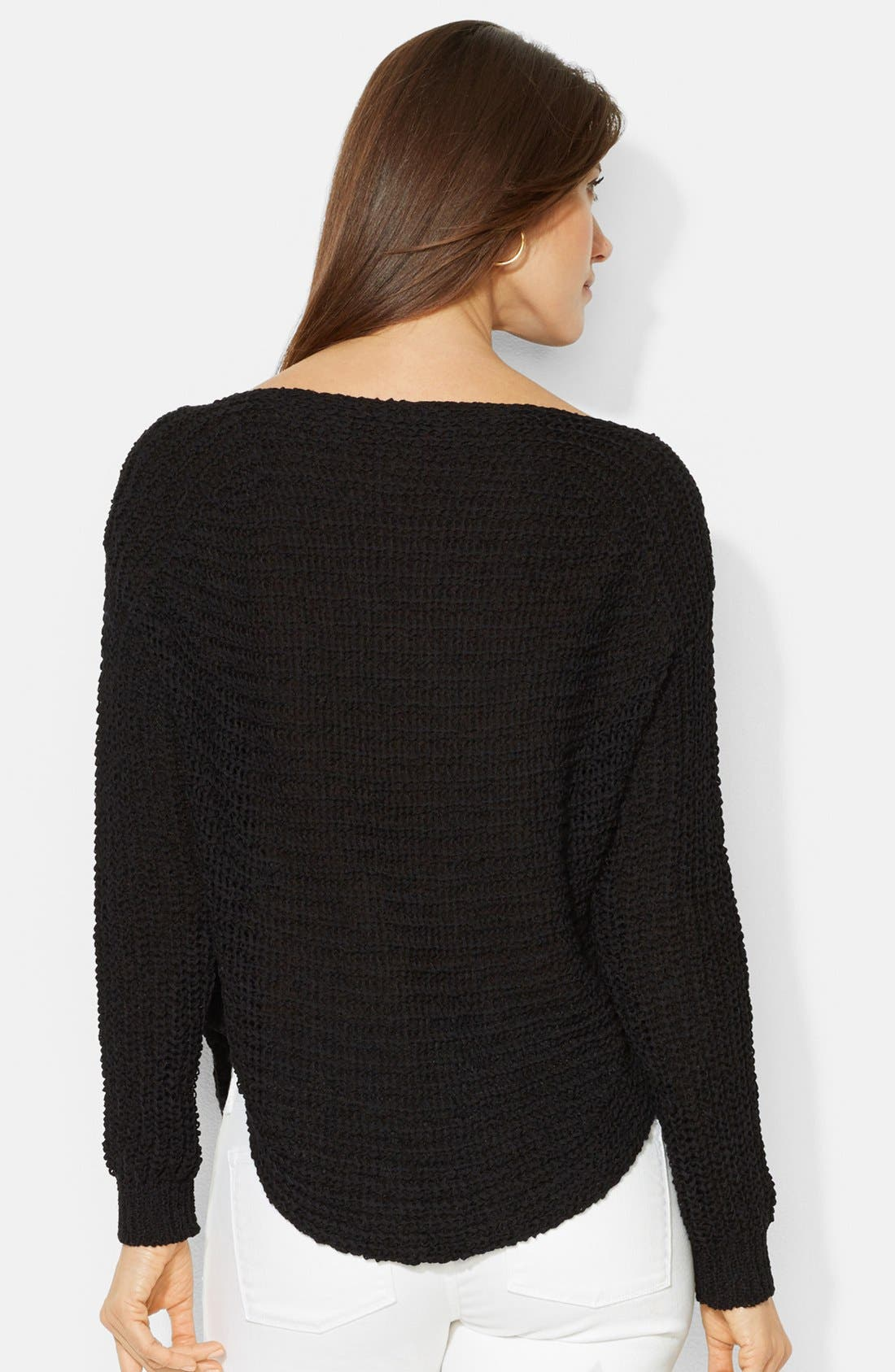 Alternate Image 2  - Lauren Ralph Lauren Open Stitch Boatneck Sweater