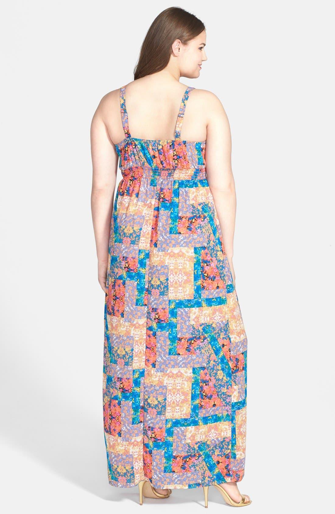 Alternate Image 2  - Eight Sixty Print Smocked Maxi Dress (Plus Size)