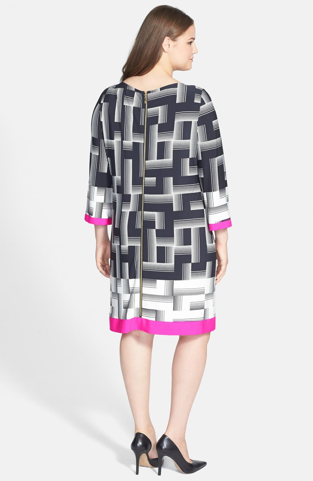 Alternate Image 2  - Eliza J Print Woven Trim Sheath Dress (Plus Size) (Online Only)