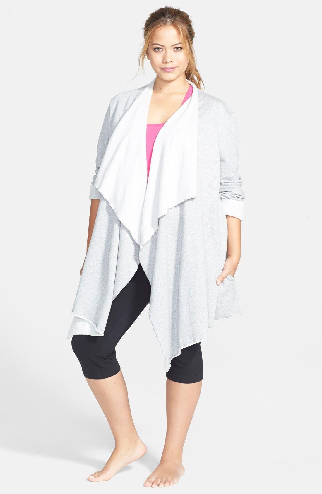 Main Image - Hard Tail 'Matrix' Fleece Open Cardigan (Plus Size)