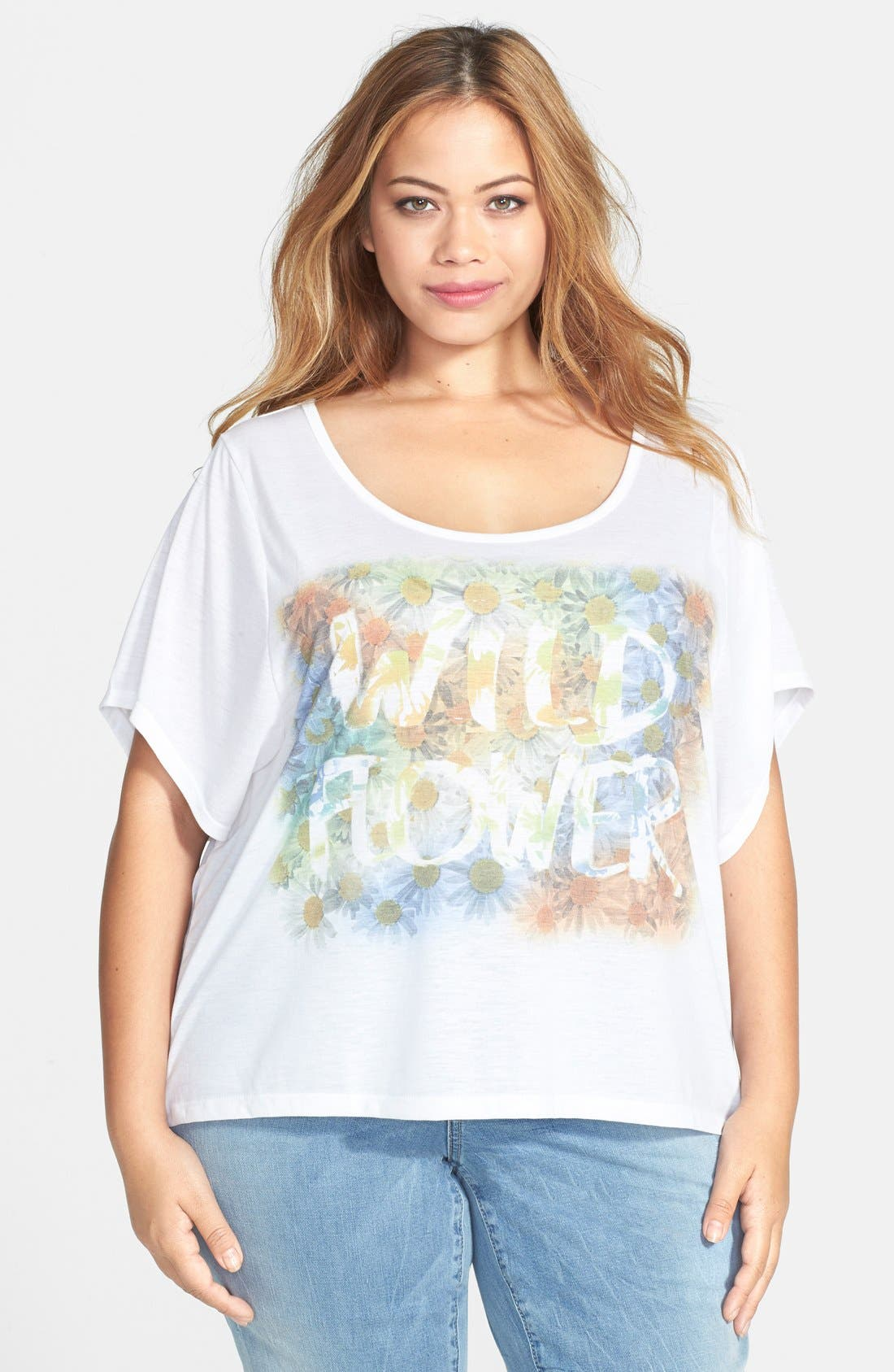 Alternate Image 1 Selected - Jessica Simpson 'Danna' Graphic Print Tee (Plus Size)