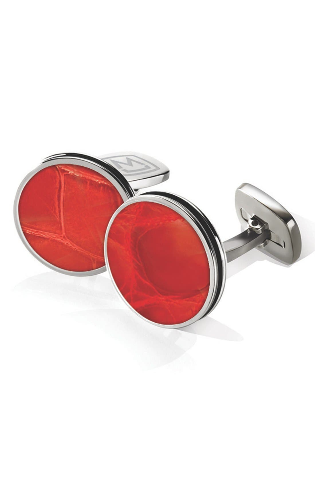 Alligator Cuff Links,                         Main,                         color, Stainless Steel/ Red