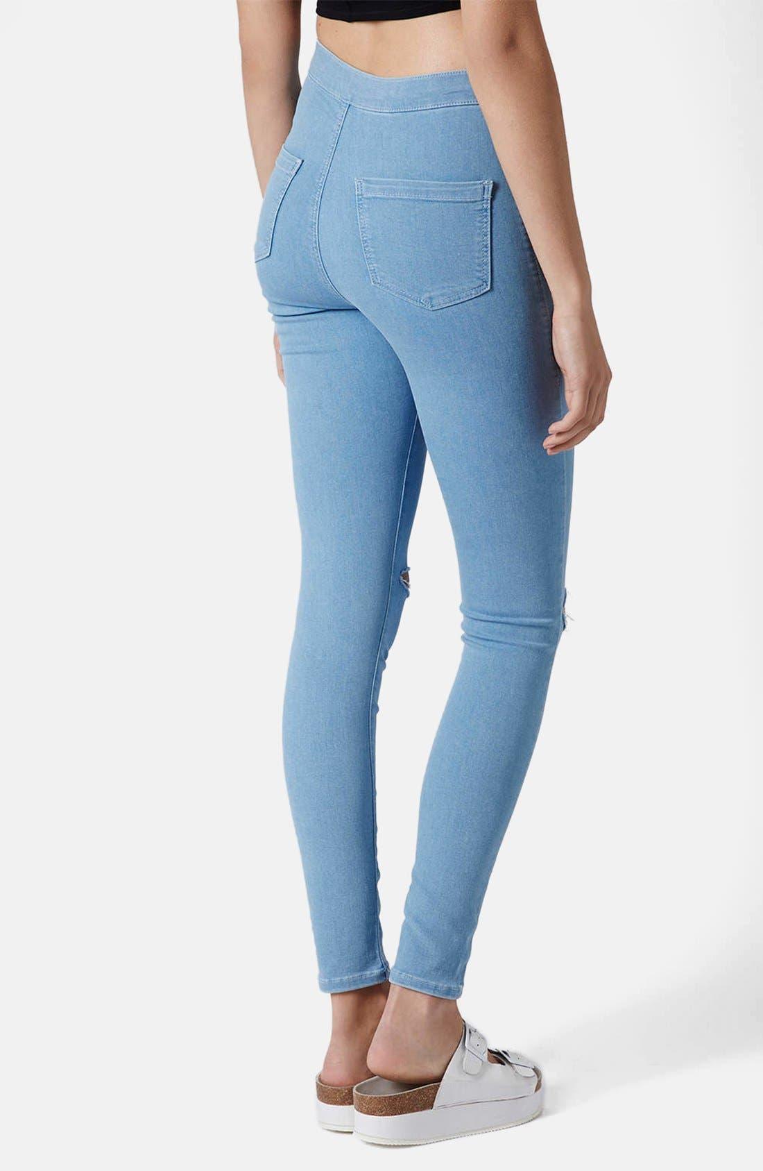 Alternate Image 2  - Topshop Moto 'Joni' Ripped High Rise Skinny Jeans (Light Denim) (Short)