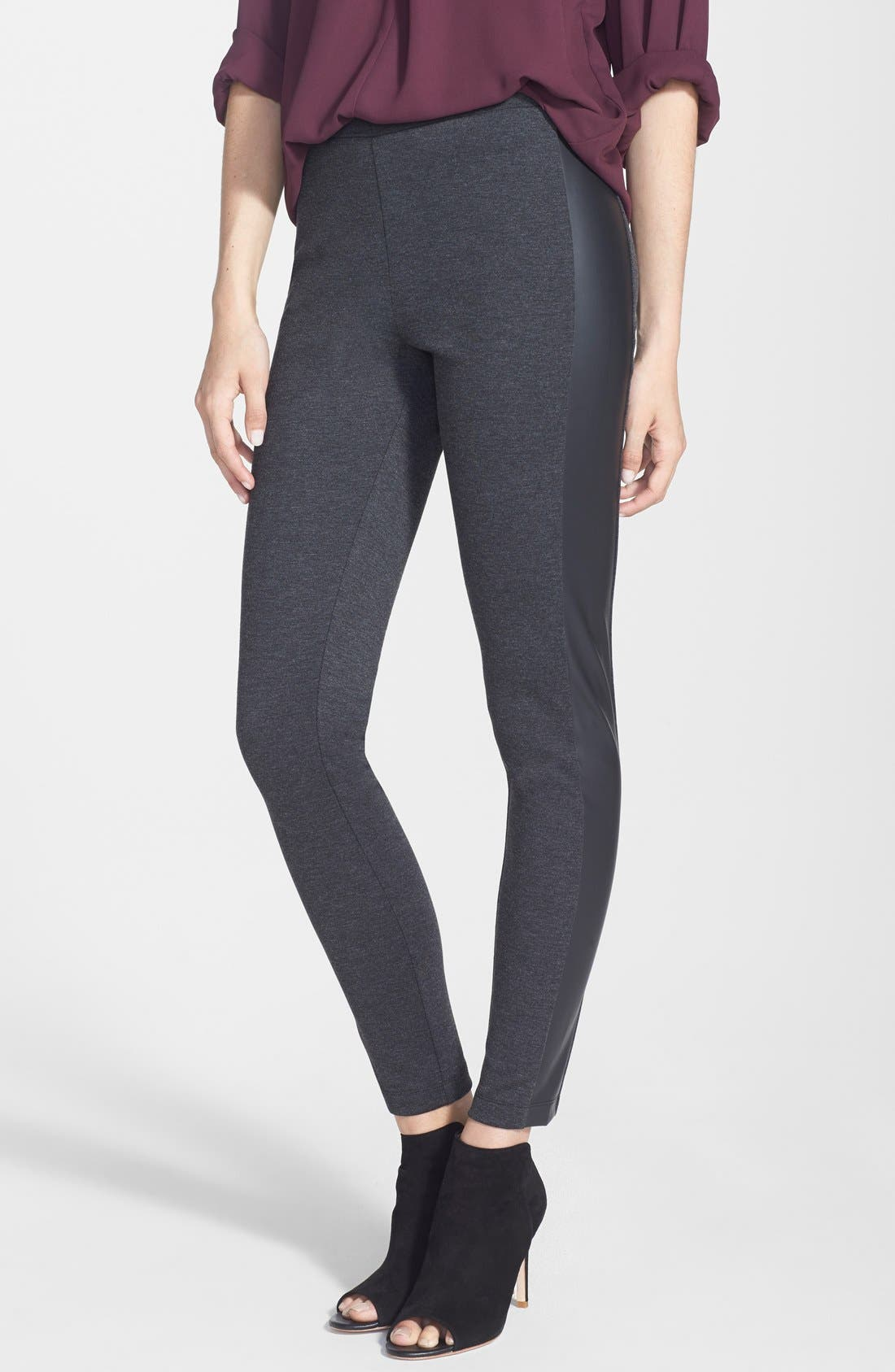 Main Image - Two by Vince Camuto Faux Leather Trim Leggings (Petite)