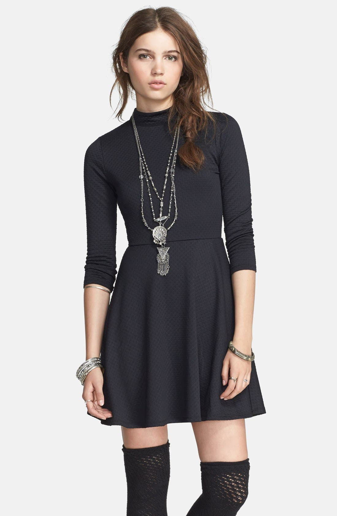 Main Image - Free People Back Cutout Textured Fit & Flare Dress