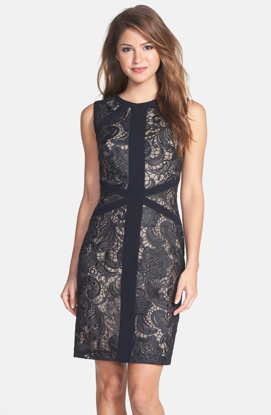Main Image - ML Monique Lhuillier Lace Sheath Dress