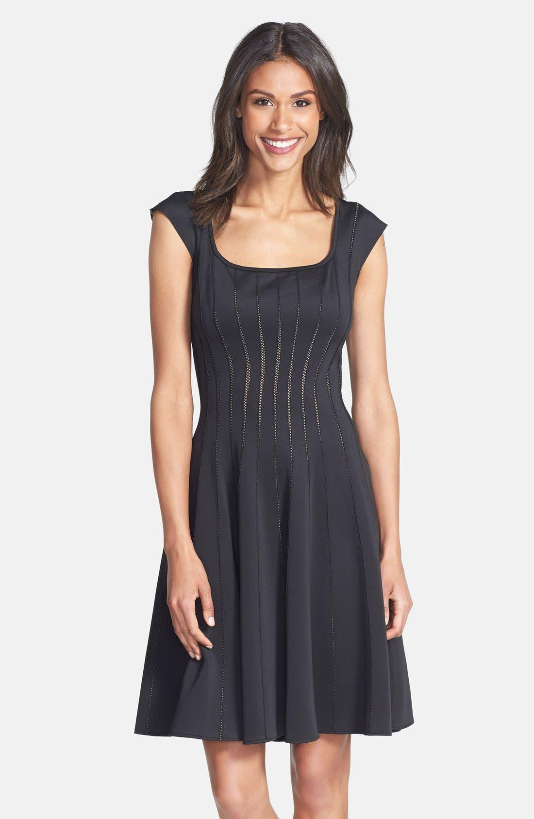 Main Image - Tadashi Shoji Mesh Detail Knit Fit & Flare Dress