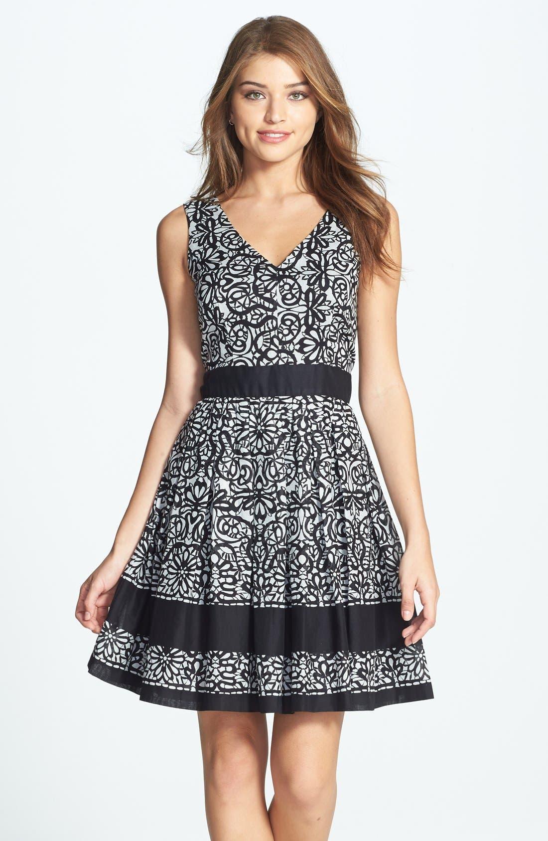 Alternate Image 1 Selected - Taylor Dresses Print Cotton Voile Fit & Flare Dress