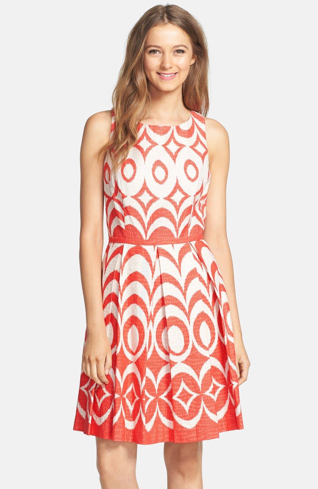 Print Cotton Fit & Flare Dress,                             Main thumbnail 1, color,                             Blaze/ Tan